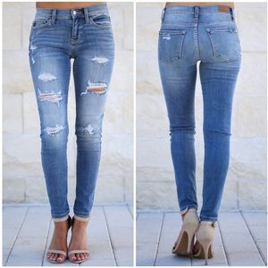Denim - Distressed Mid Rise Stretch Skinny Jeans